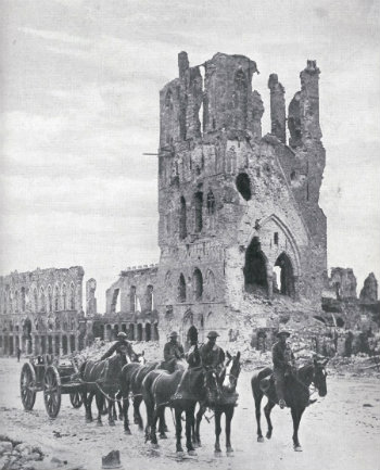 Ruins of the Cloth Hall, Ypres, Illustrated war news, 3 Oct 1917, part 69, page 1.