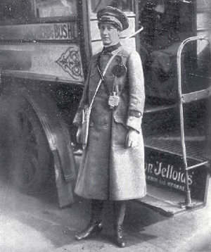 Female bus conductor, Illustrated war news, 5 Apr 1916, page 45