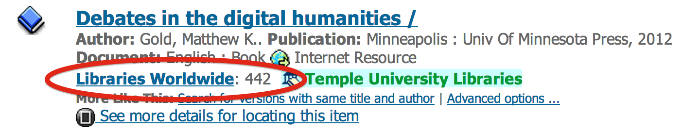 Example of identifying the number of libraries worldwide that own title.