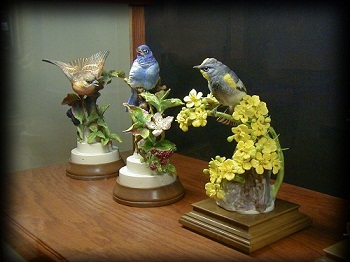 Three bird sculptures from the Dorothy Doughty Collection of North American Birds