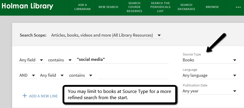Search page in primo, highlighting how to limit to just books