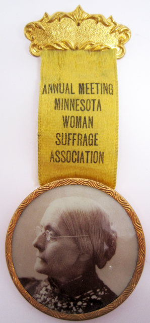 Suffrage association badge, c. 1895-1920.