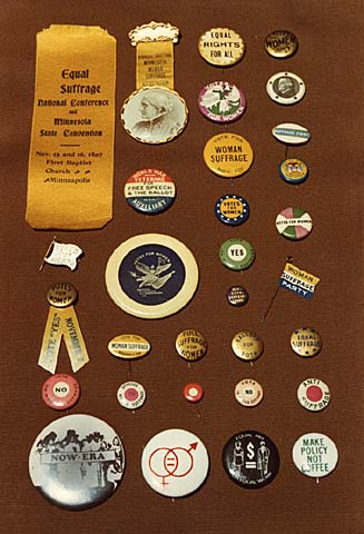 Political buttons advocating suffrage and equal rights for women, c. 1897.