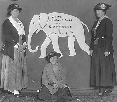 Women active in the management of the Suffrage White Elephant Sale, 1915.