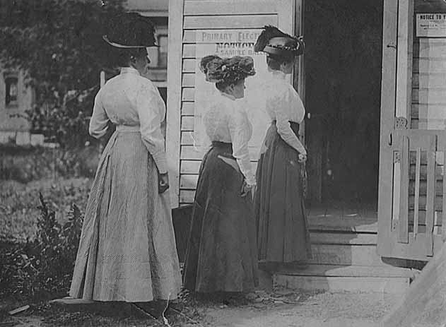 Women waiting in line to vote in a primary election; could be a school board election, c. 1908.