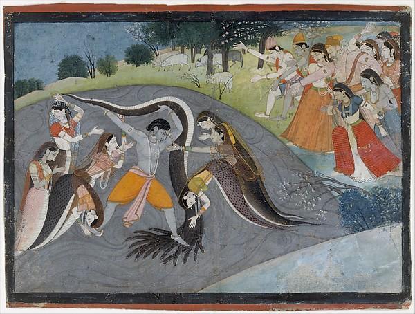 Krishna subduing Kaliya