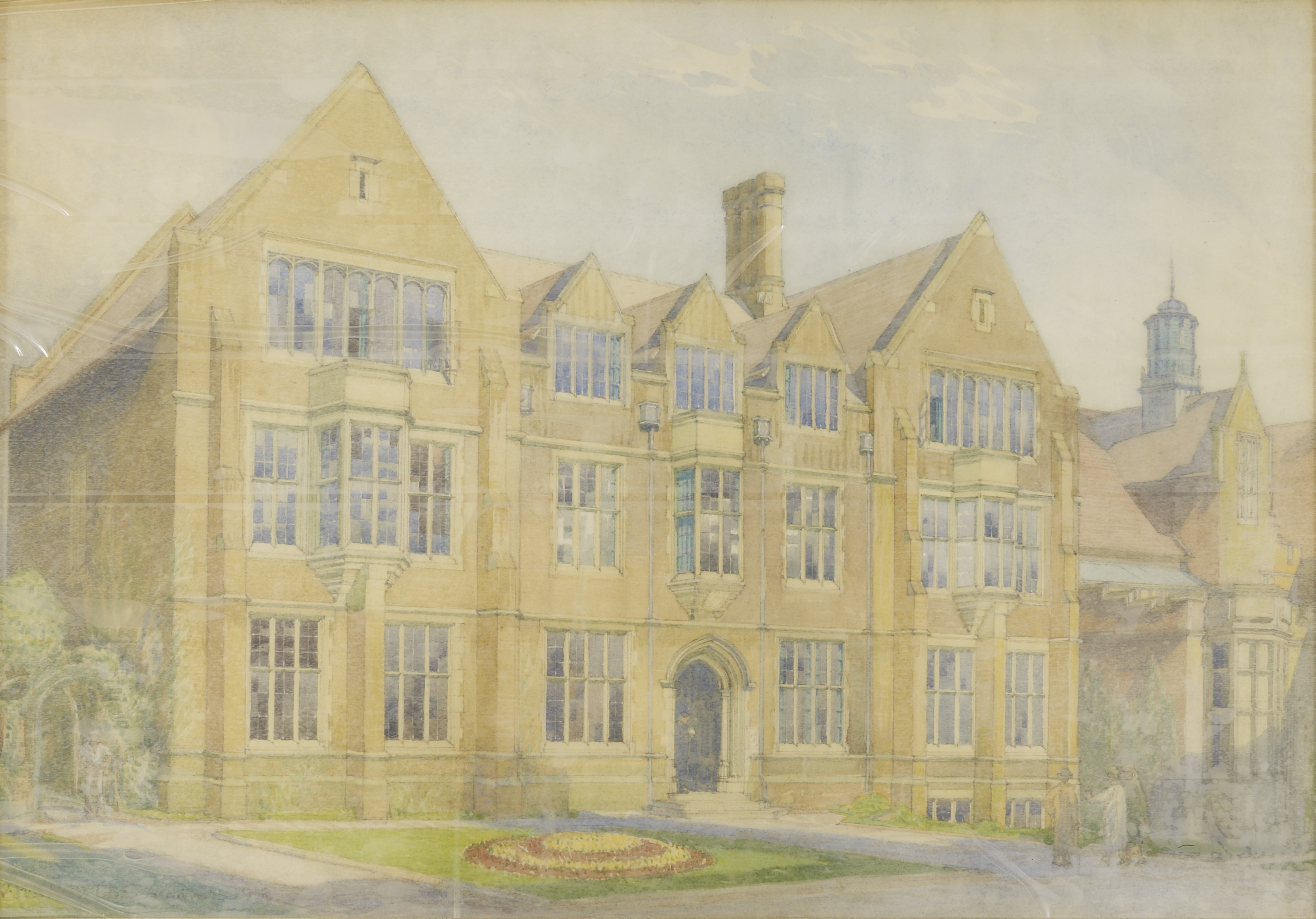 Watercolour of the new Armstrong Building, Armstrong College presented to Clement Stephenson on the occasion of the foundation stone ceremony 5th April, 1915.