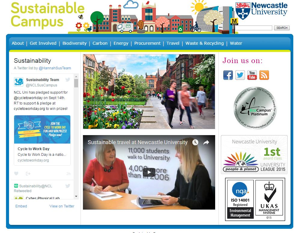 Image of sustainable campus webpage