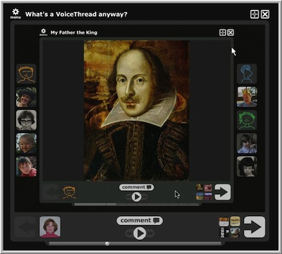 Shakespeare image inside a Voicethread