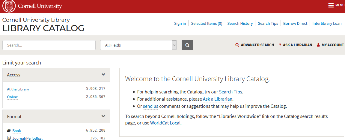 Image: screen shot from Cornell University Library catalog