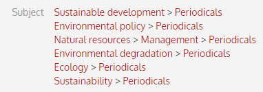 Catalog subject headings: sustainable development, environmental policy, natural resources, environmental degradation, ecology, sustainability