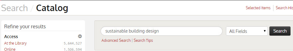 basic search for sustainable building design in catalog
