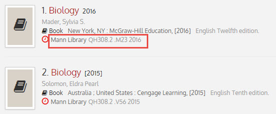 Library catalog call number example: Mann Library QH308.2.M23 2016