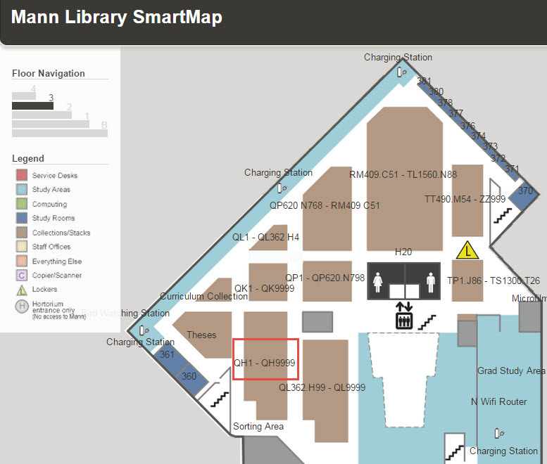 stacks map for Mann library showing location of QH call numbers