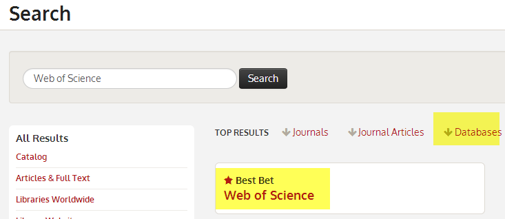 Best bet suggestions on results page