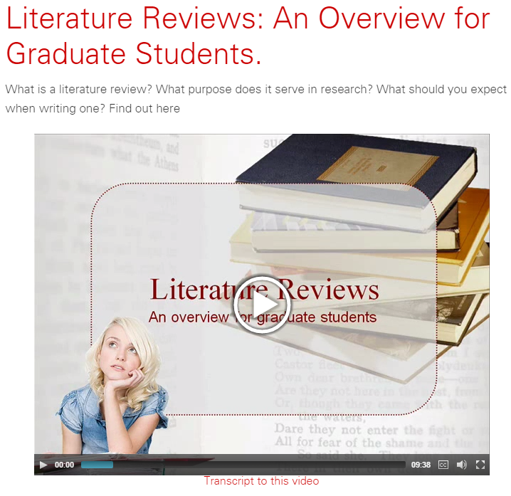 Video: Literature Reviews: An Overview for Graduate Students