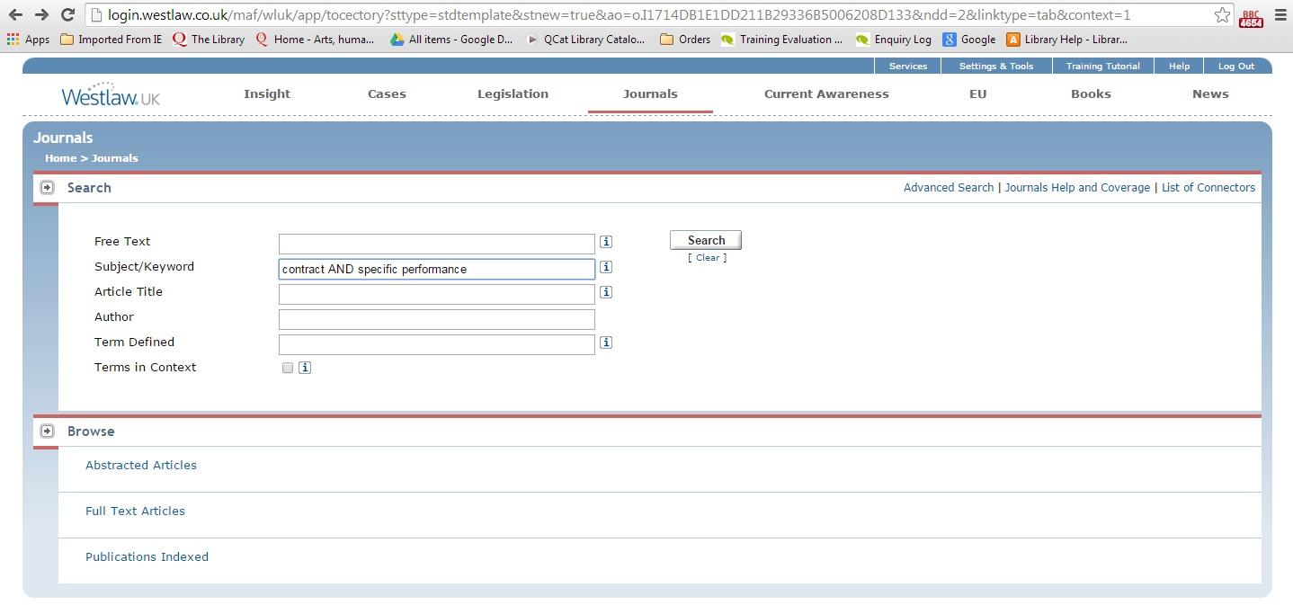 Westlaw UK Journals Search screenshot