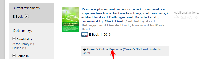 e-book record in Library Catalogue click on Queen's Online Resource to access