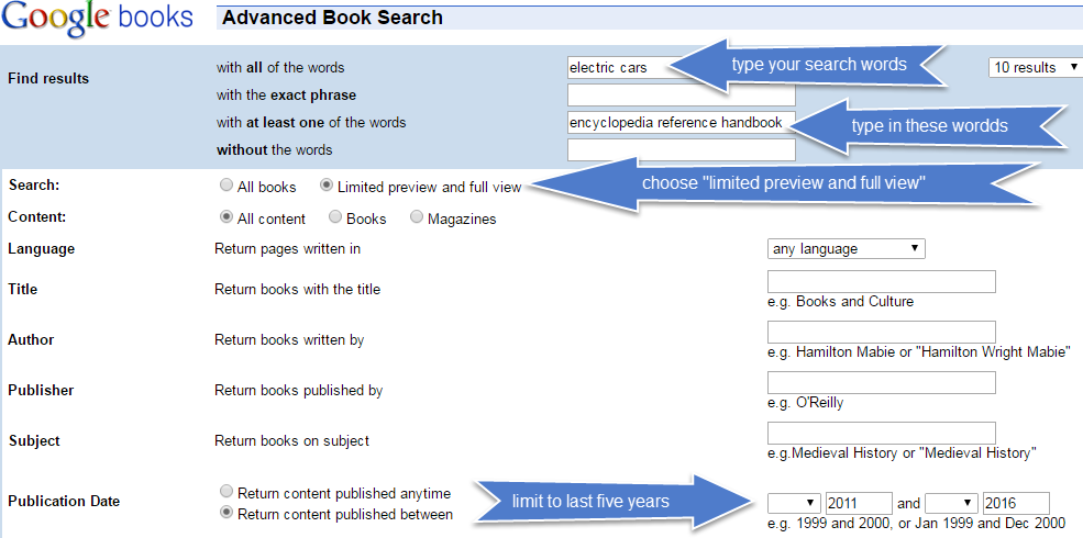 image of an advanced search page in Google Books