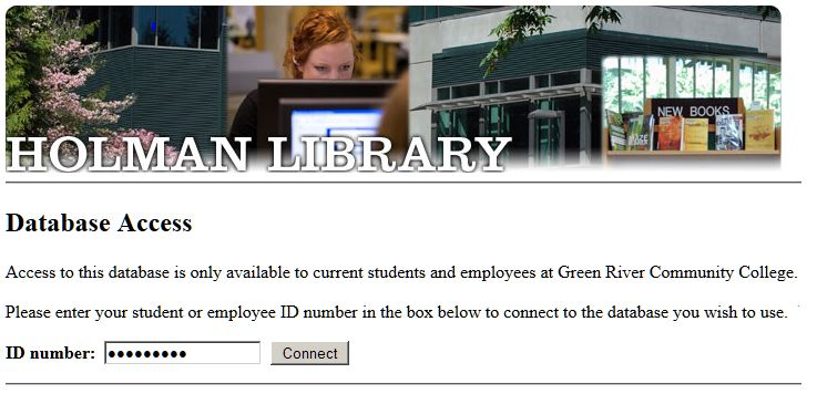image of the off-campus log in page where students are asked to enter in their info