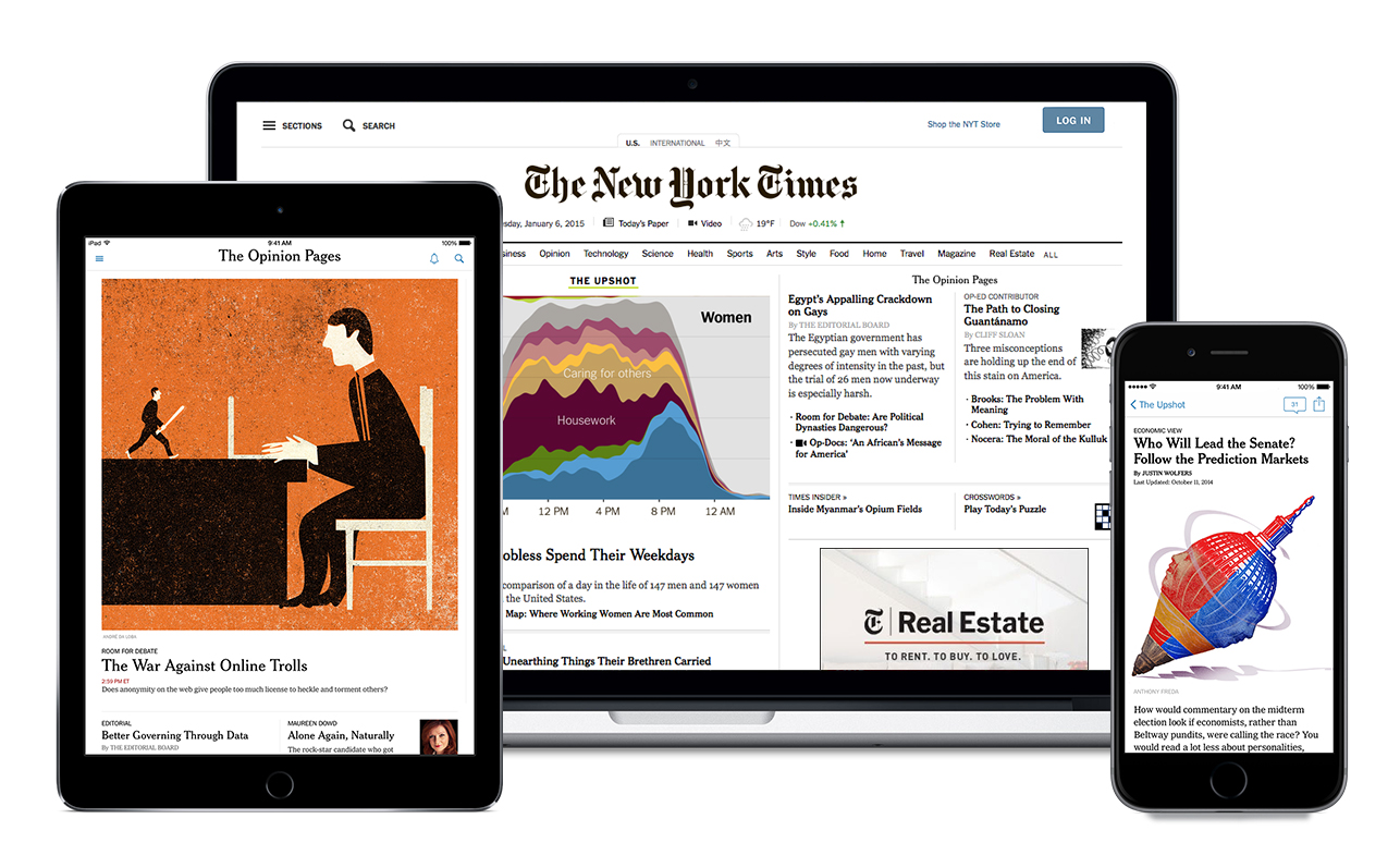 promotional display of New York Times on different screen sizes