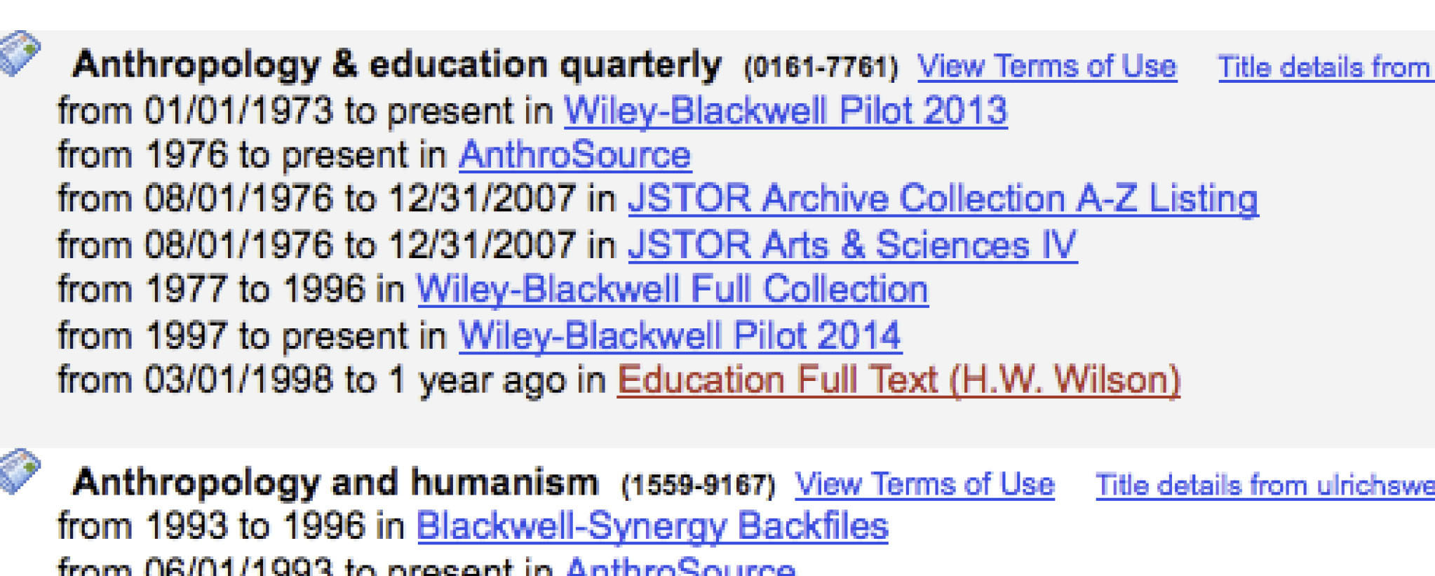 Screenshot of e-journal search by subject
