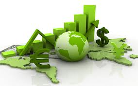 Image representing economics, charts, money sign, globe
