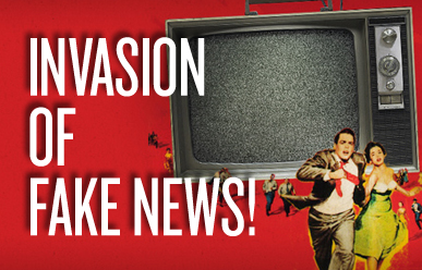 Invasion of Fake News Image, people running from TV.