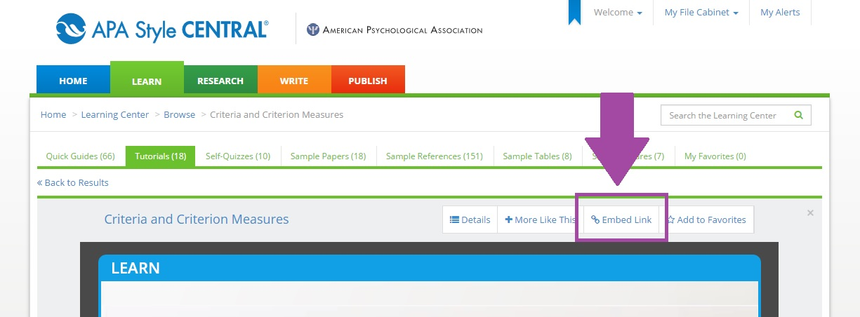 Embed link button within APA Style Central