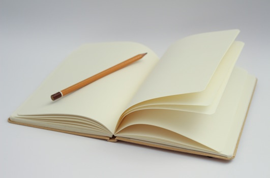 Image of a blank notebook that is open with a pencil lying on one of the open pages.