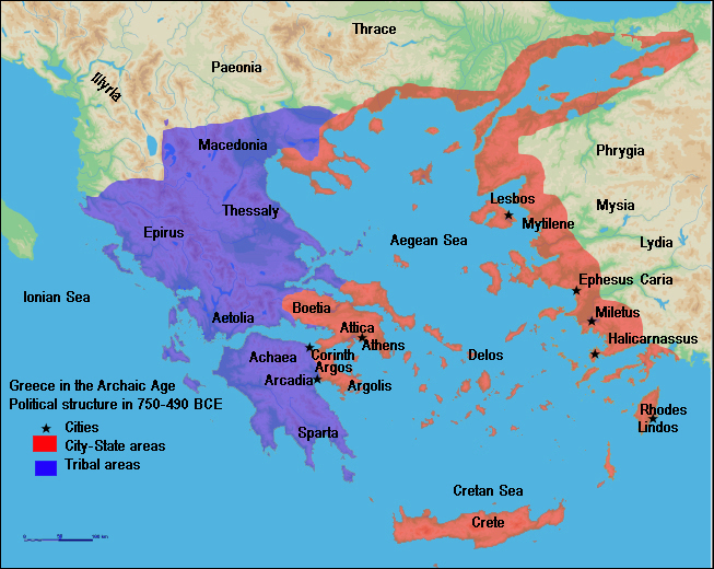 The Rise of Athens and Sparta - Map of Greece