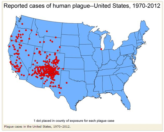 Reported cases of human plague United States 1970 to 2012