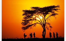 African scene. People standing around a tree.