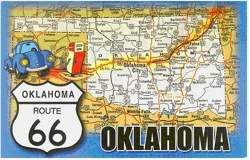 Map of Route 66 in Oklahoma