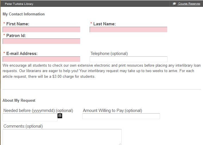 InterLibrary Loan Request Items From Other Libraries  Psy