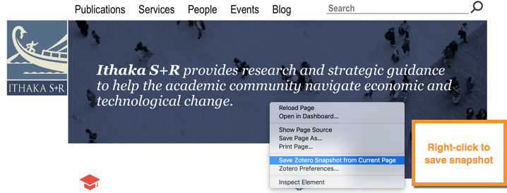image showing Zotero save snapshot when you right-click on webpage