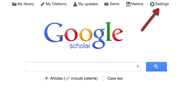 Where to click on Settings on Google Scholar - top right corner
