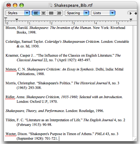 example of bibliography you can create with Zotero