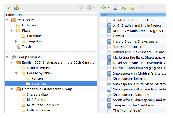 Group setup on Zotero