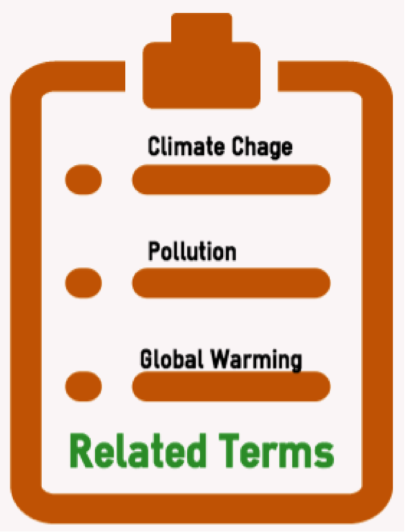 Clipboard with related terms (climate change, pollution, global warming)