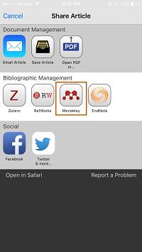 Screenshot - Mendeley button in Browzine