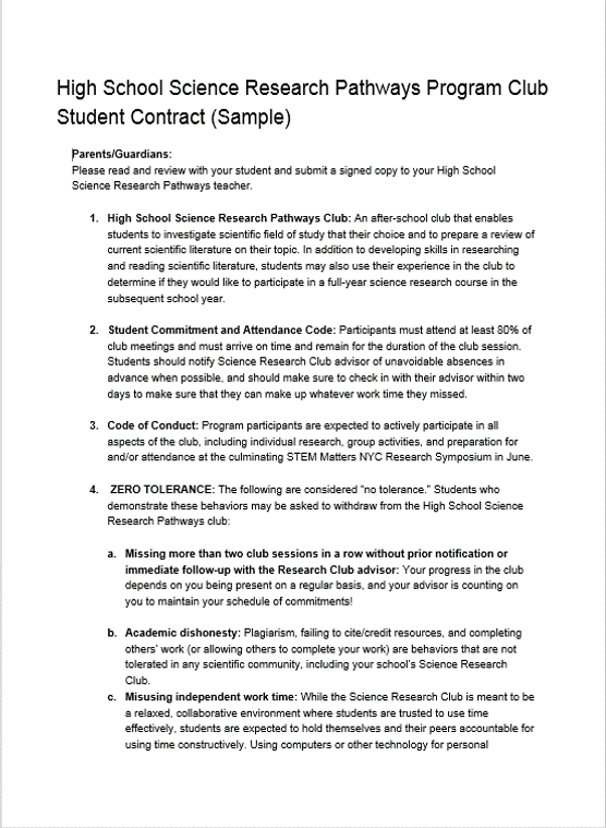 Student And Parent Contract Template