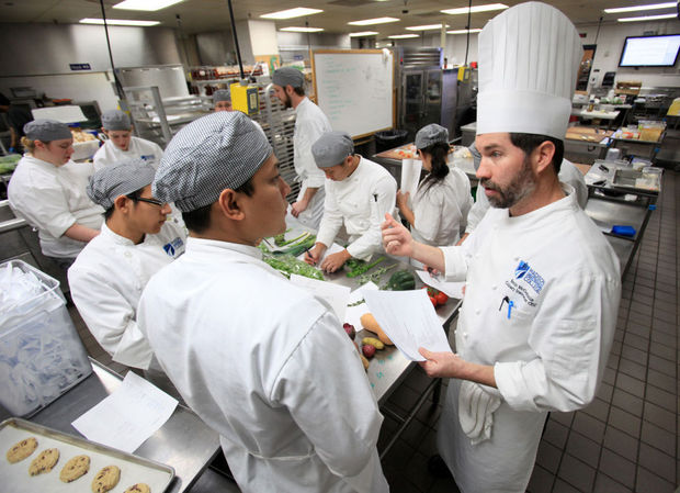 madison college chef in kitchen, teaching