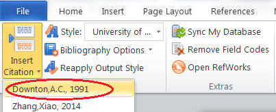 Screen shot of the Ribbon in Microsoft Word with the newly used references circled in red.