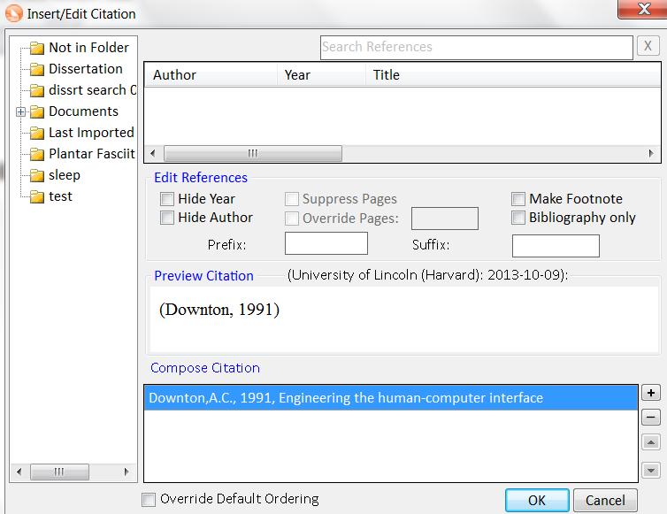 Screen shot of Insert/Edit Citation window within Microsoft Word
