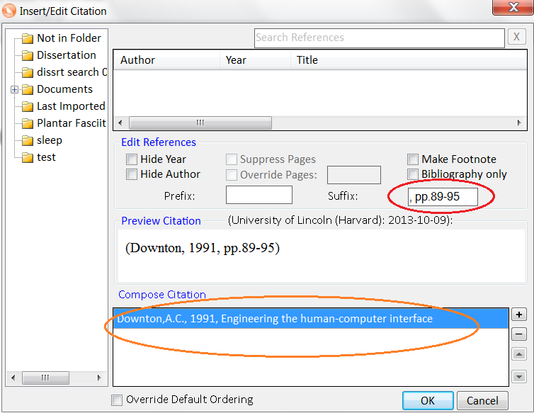 Screen shot of Insert/Edit Citation window in Microsoft Word with the page numbers and citation information circled in red.
