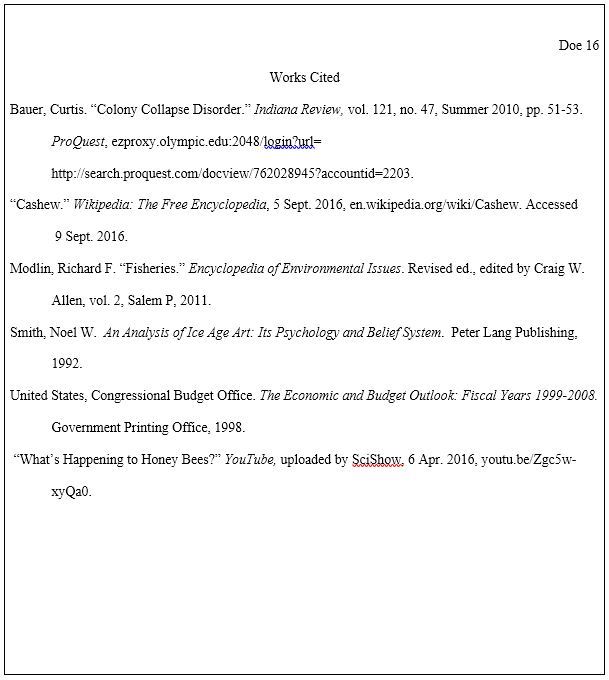 works cited page mla 8th edition documentation style research