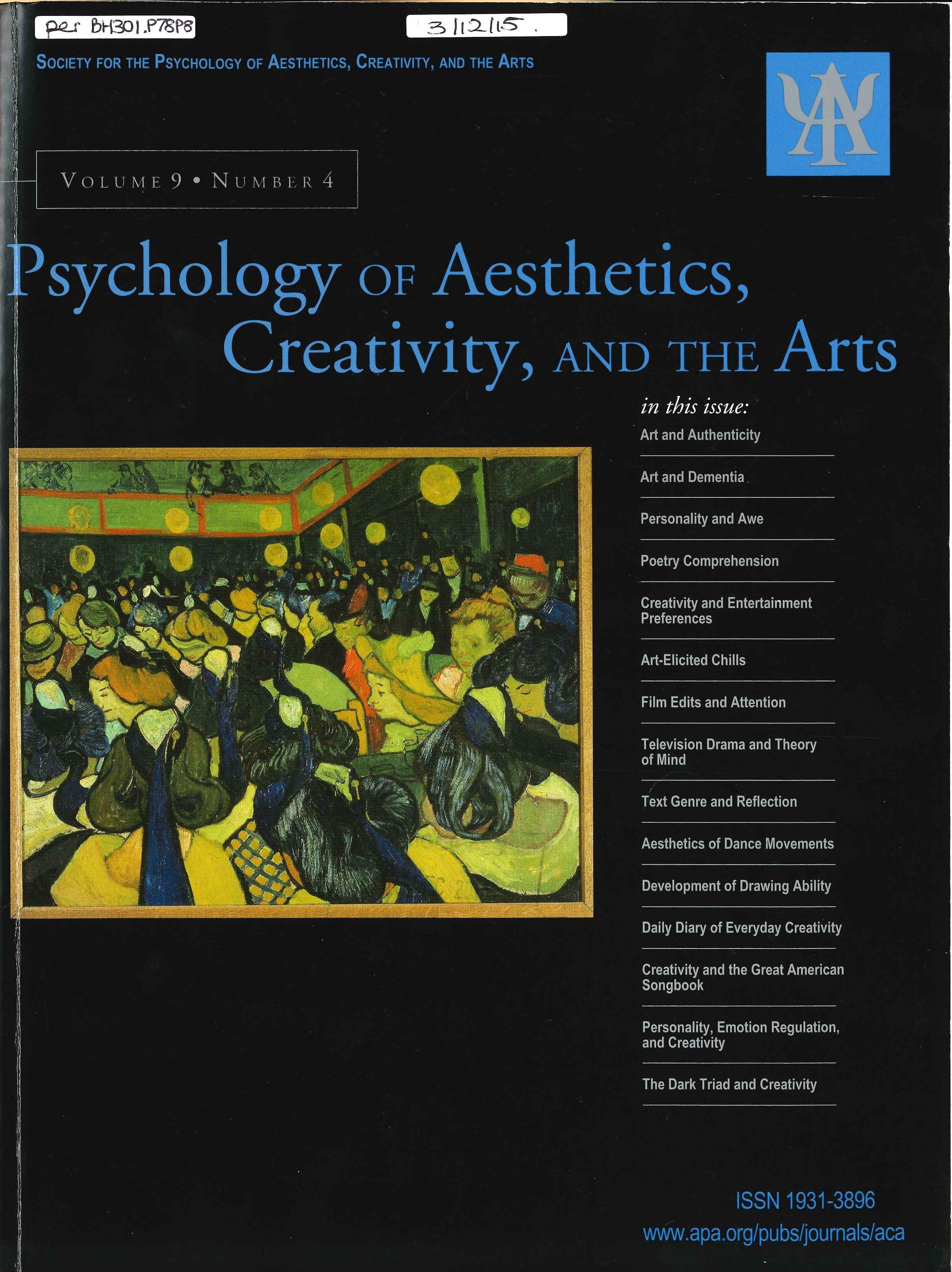 Example of journal cover page