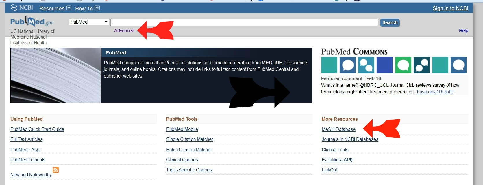 PubMed screen showing the use of the MeSH database