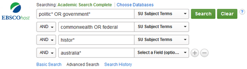 The EBSCOHost advanced search screen also allows you to change the scope of your search easily